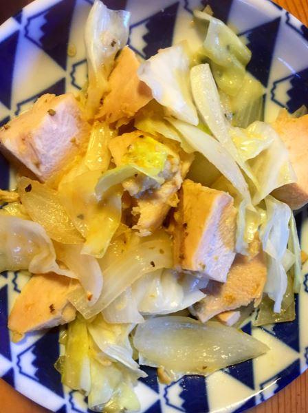 サラダチキンの柚子胡椒野菜炒め